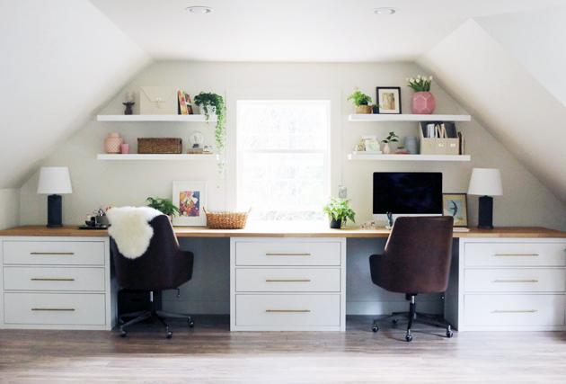DIY Office Ideas - Studio Desk IKEA Hack by Jones Design Company