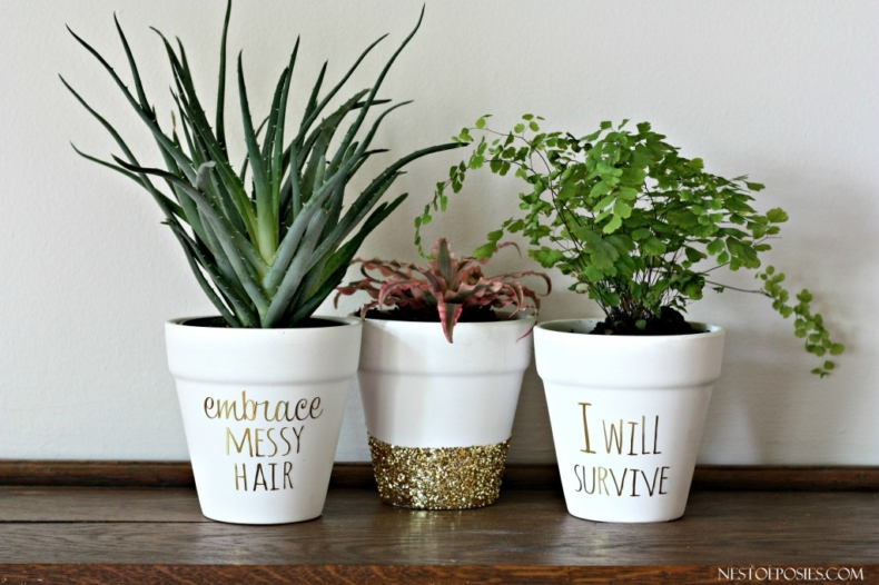 DIY Planter Ideas - DIY Gold Foil Lettering Pot by Nest of Posies