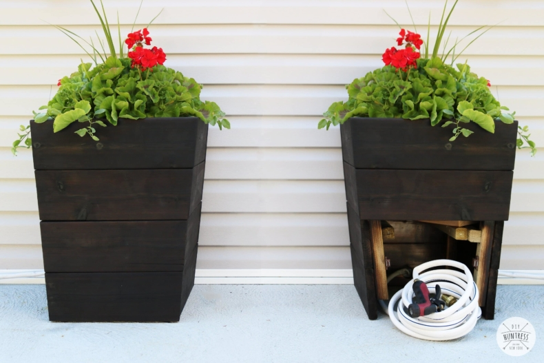 DIY Planter Ideas - DIY Modern Planter with Hose Storage by DIY Huntress