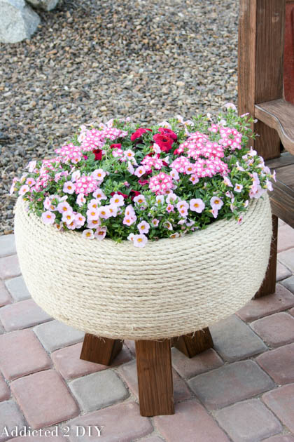 DIY Planter Ideas - Old Tire Planter by Addicted 2 DIY