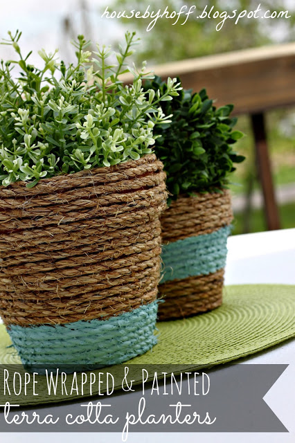 DIY Planter Ideas - Rope Wrapped Pots by House by Hoff