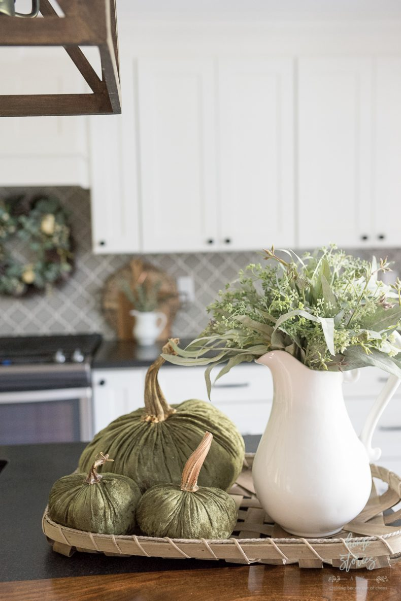 Fall Flower Arrangements and Vignettes - Fall Kitchen Vignette by Home Stories A to Z