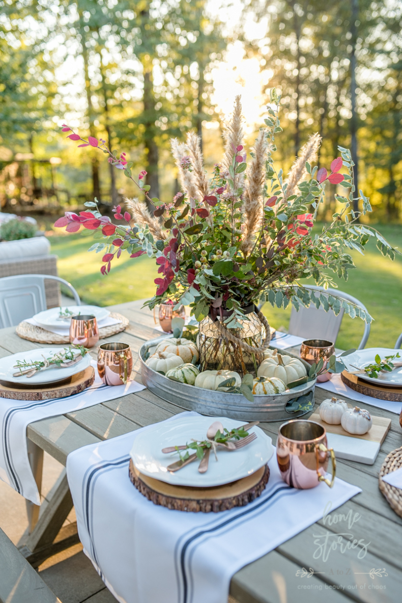Fall Flower Arrangements and Vignettes - Fall Outdoor Entertaining Tips by Home Stories A to Z
