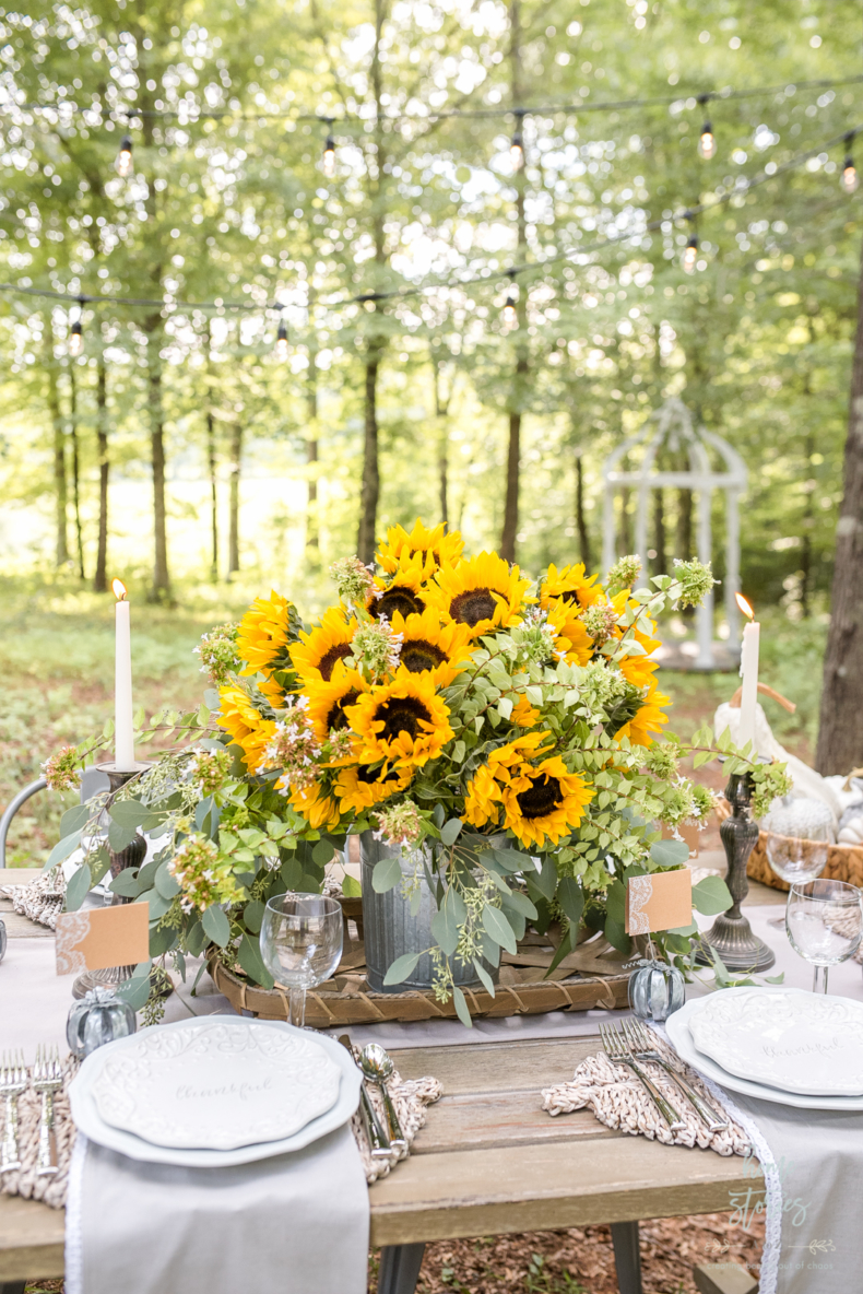 Fall Flower Arrangements and Vignettes - Outdoor Tablescape by Home Stories A to Z