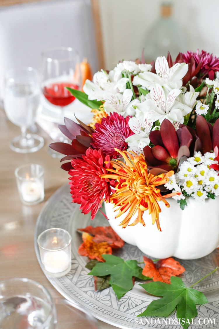 Fall Flower Arrangements and Vignettes - Thanksgiving Table by Sand & Sisal