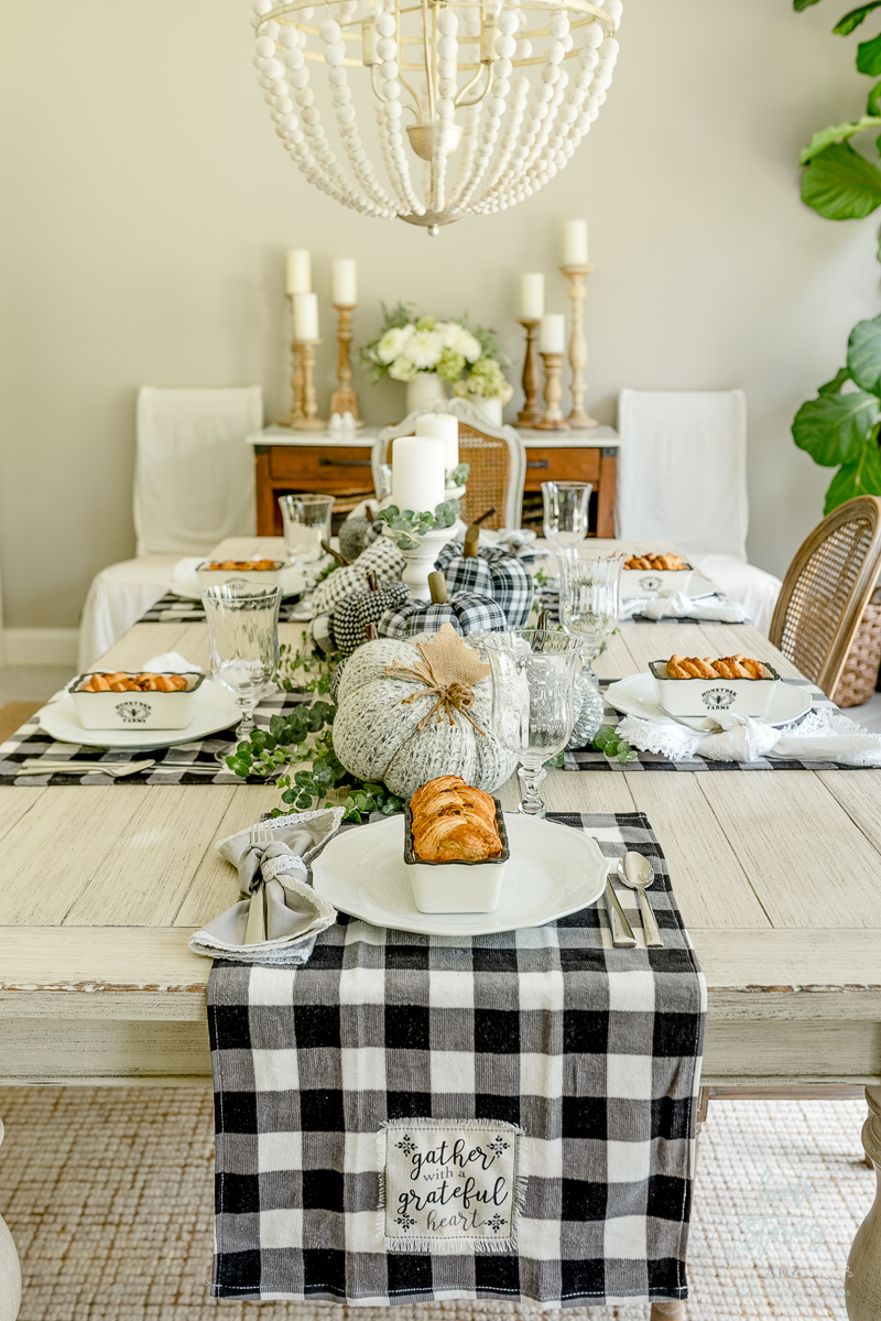 Beautiful Black White Buffalo Check Farmhouse Fall Table Setting Tips