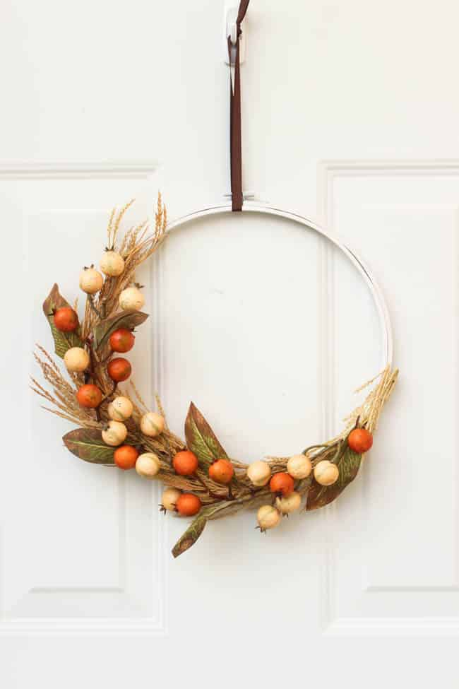 Gorgeous Fall Wreath Ideas - Beautiful Fall Embroidery Hoop Wreath by Love Create Celebrate