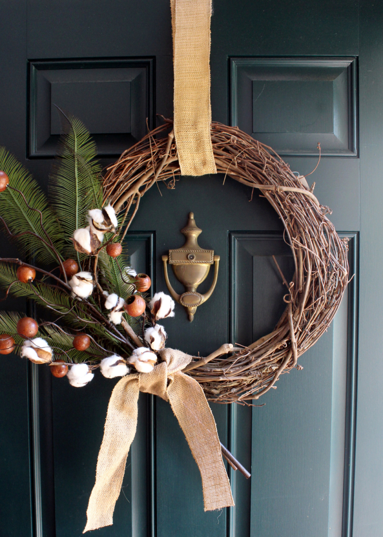 Gorgeous Fall Wreath Ideas - Cotton Berry Fall Wreath by Tag and Tibby