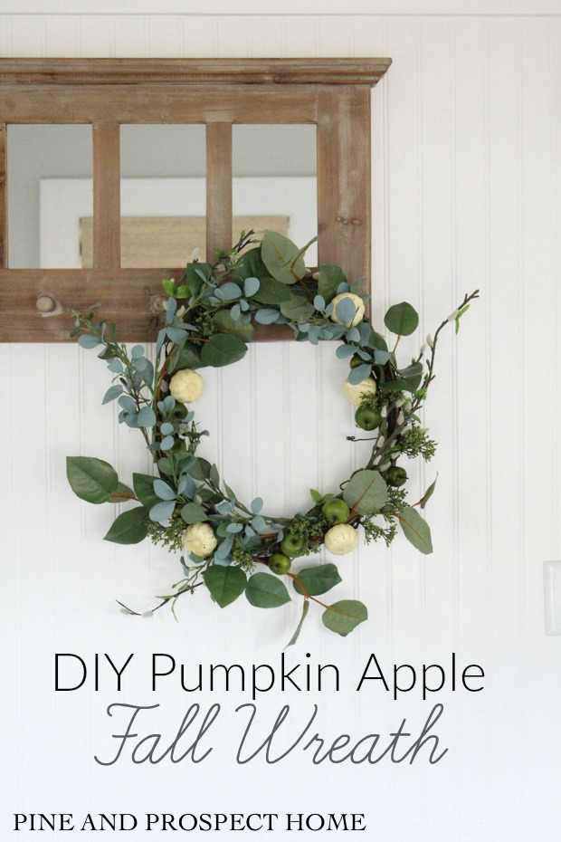 Gorgeous Fall Wreath Ideas - DIY Pumpkin Apple Fall Wreath by Pine & Prospect Home