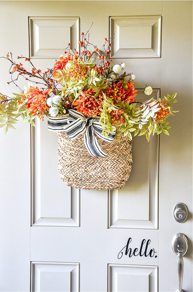 Gorgeous Fall Wreath Ideas - Fall Basket Wreath by StoneGable Blog