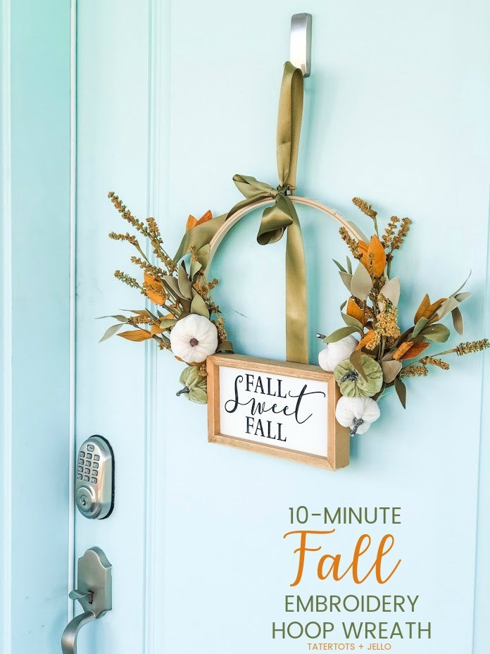Gorgeous Fall Wreath Ideas - Fall Embroidery Wreath by Tatertots & Jello