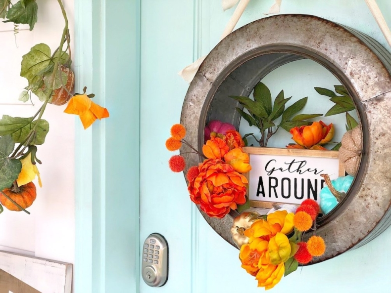 Gorgeous Fall Wreath Ideas - Farmhouse Industrial Fall Wreath by Tatertots & Jello