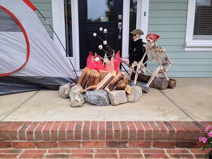 Halloween Porch and Door Ideas - Baxter Skeletons Camping