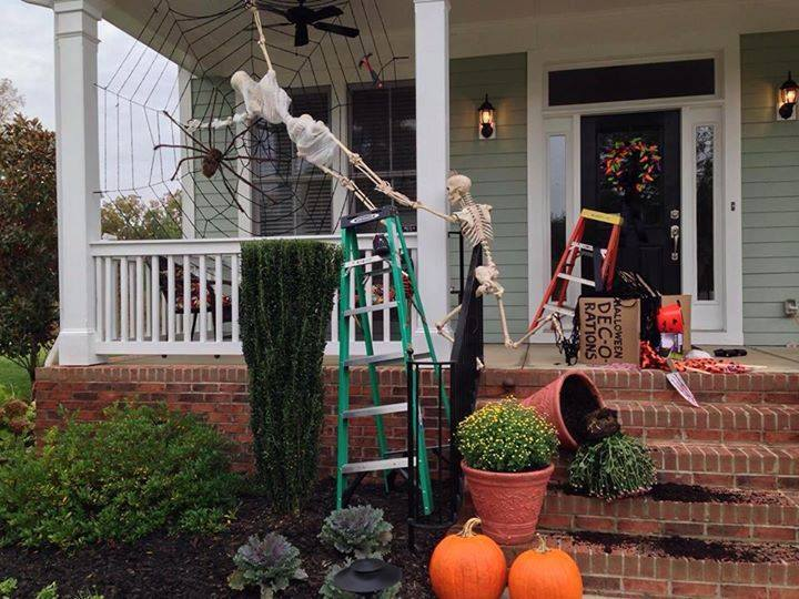 Halloween Porch and Door Ideas - Baxter Skeletons
