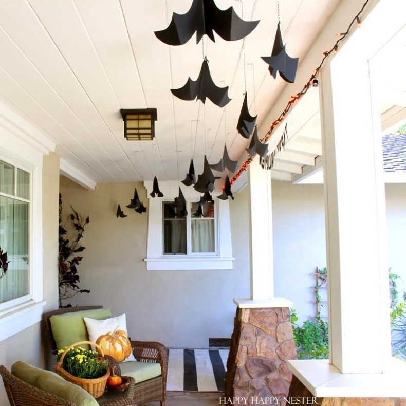 Halloween Porch and Door Ideas - Hanging Bats by Happy Happy Nester