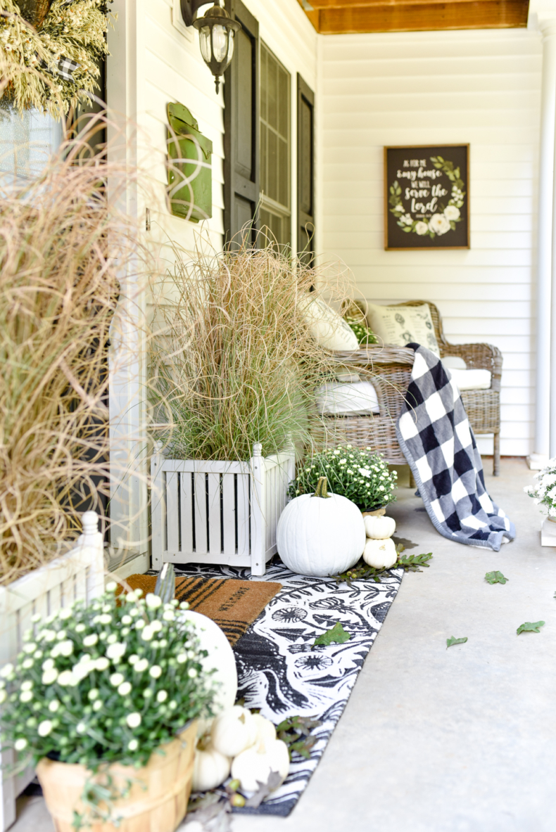 Simple Fall Decor - Black and White Fall Porch Ideas by Home Stories A to Z