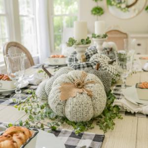Simple Fall Decor - Pumpkin Toss Pillow Table Runner by Home Stories A to Z