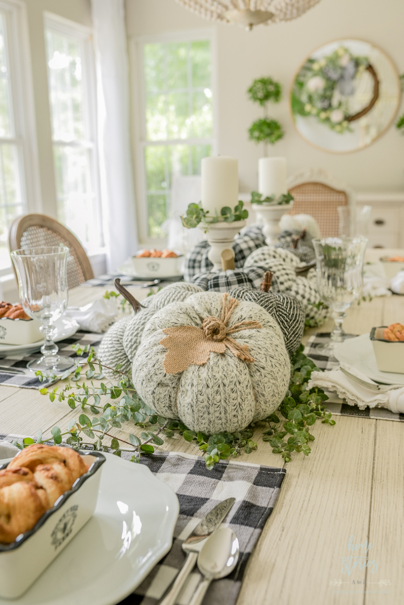 Simple Fall Decor - Pumpkin Toss Pillow Table Runner by Home Stories A to Z