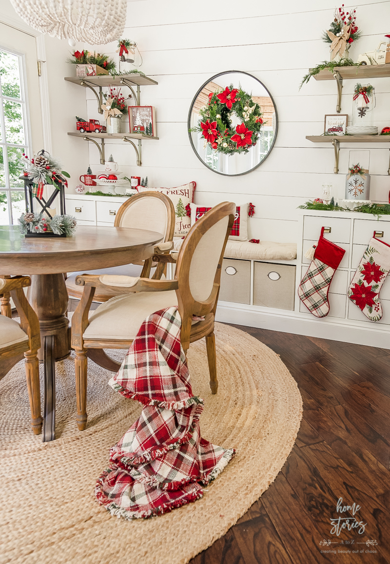 Traditional Christmas dining room with red and white Christmas decor