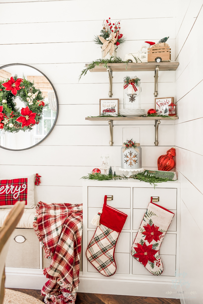 Traditional Christmas decor on styled shelves