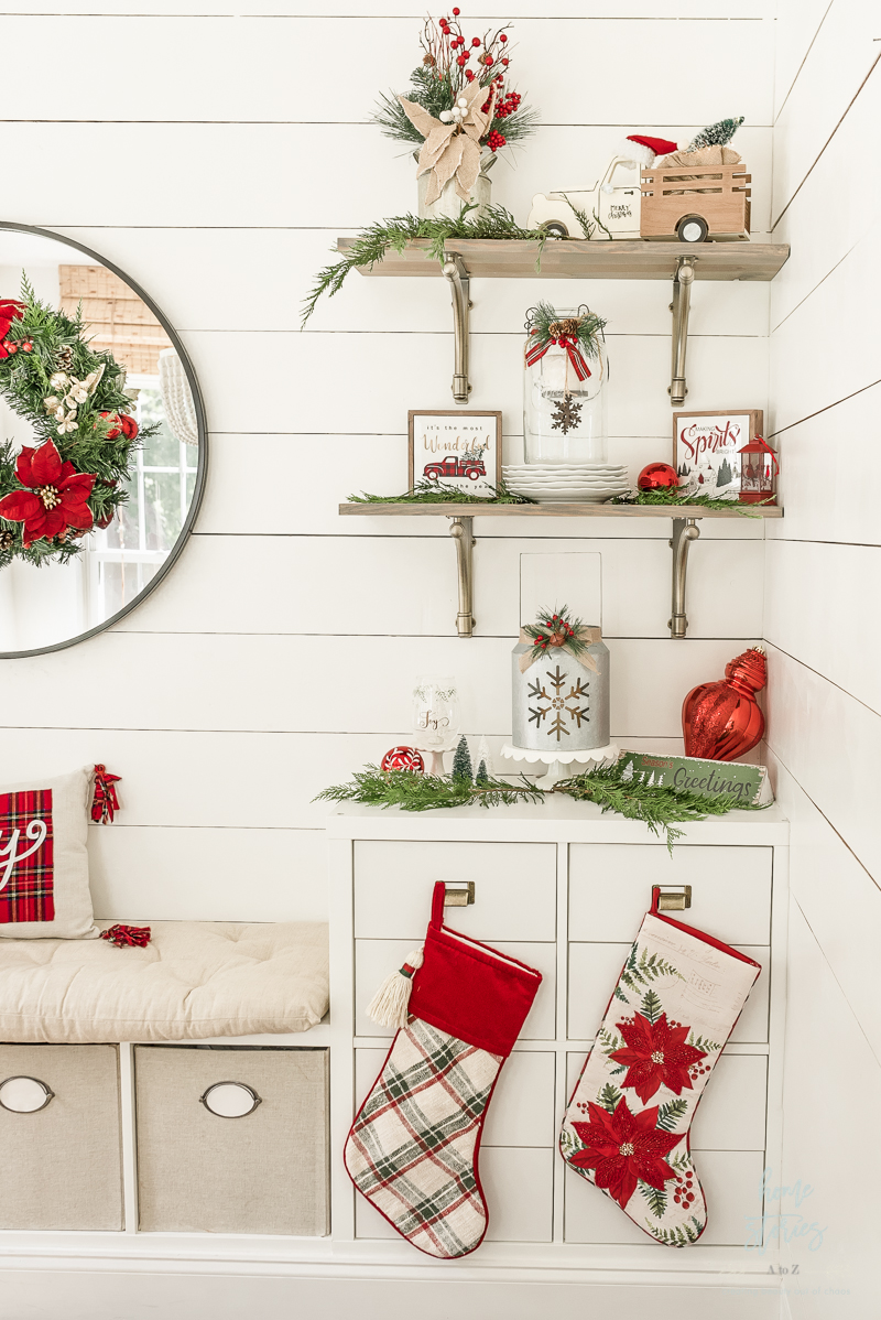 Styled shelves for traditional Christmas