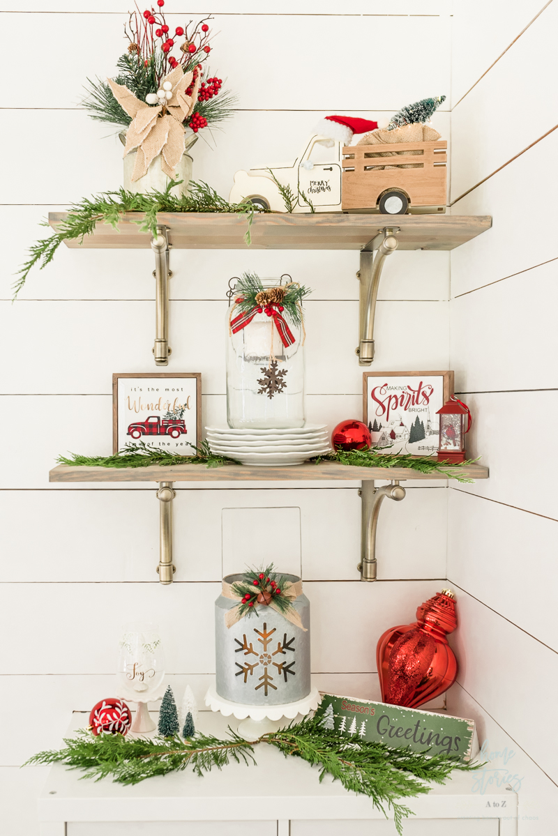 styled traditional Christmas shelves
