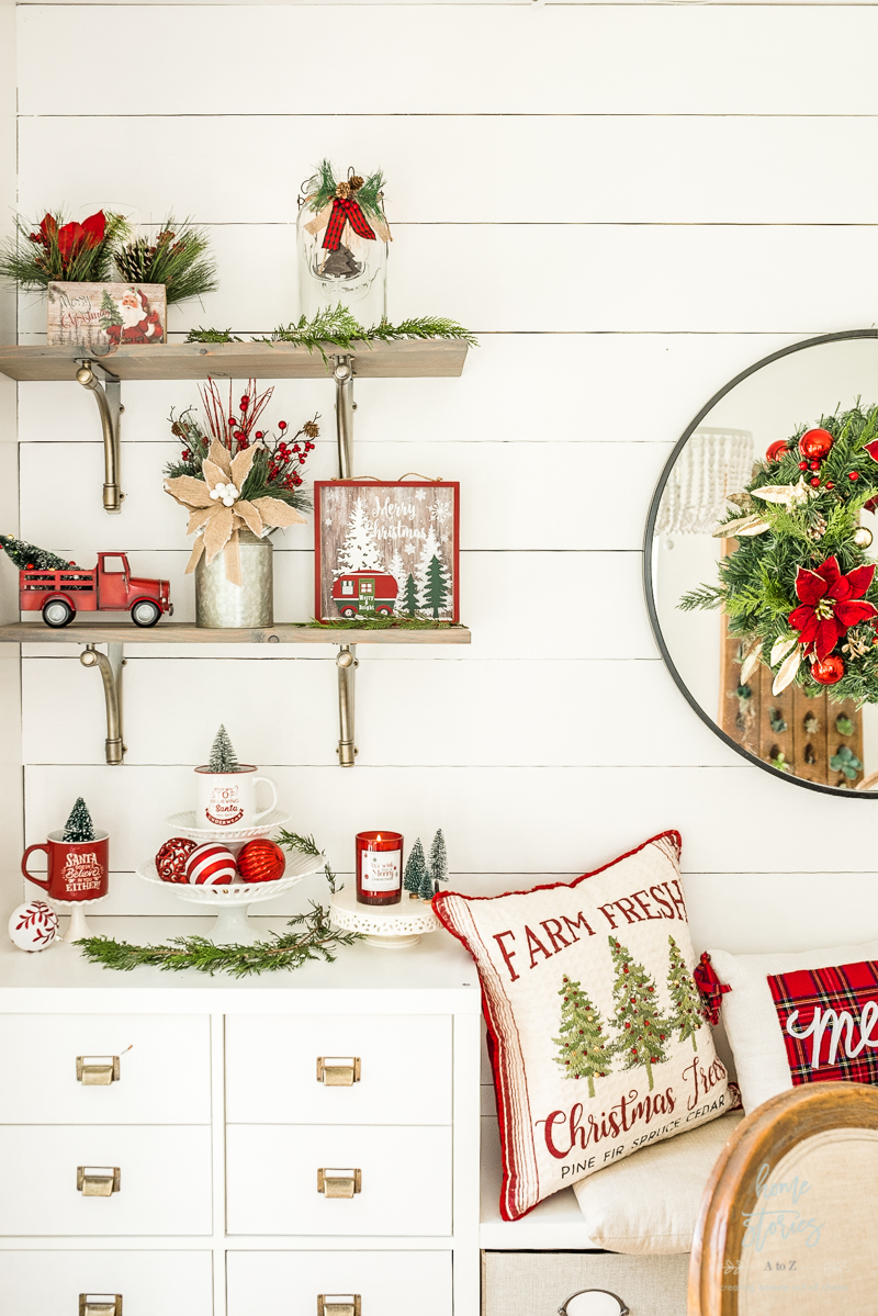 Christmas shelves red and white