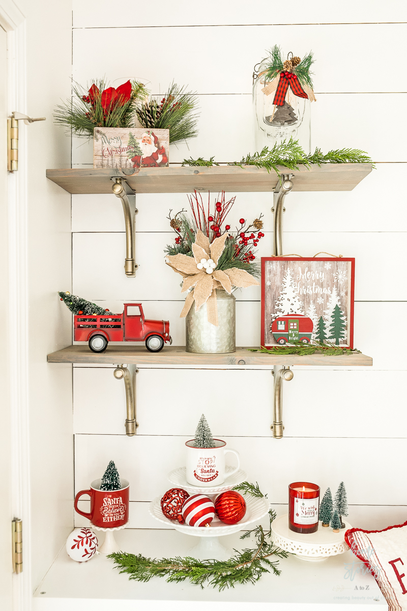 Traditional Christmas decor styled on shelves