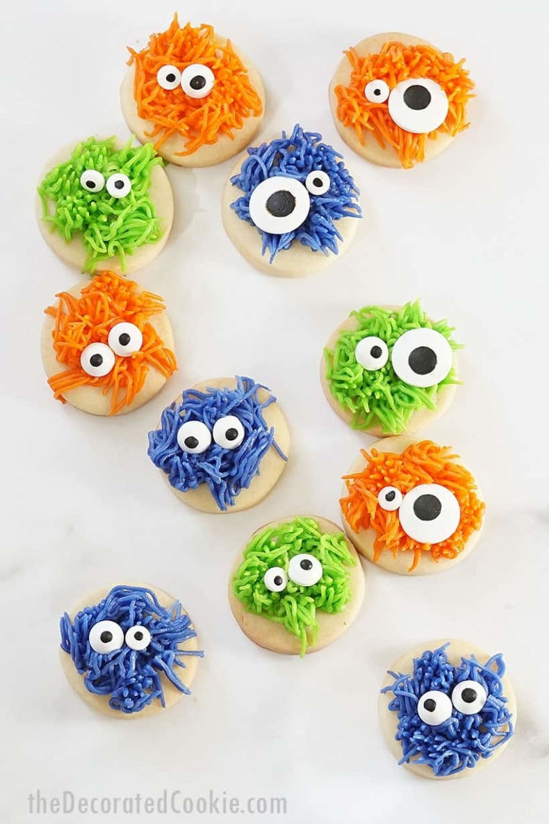 21 Halloween Treats - Fuzzy Monster Cookies by The Decorated Cookie