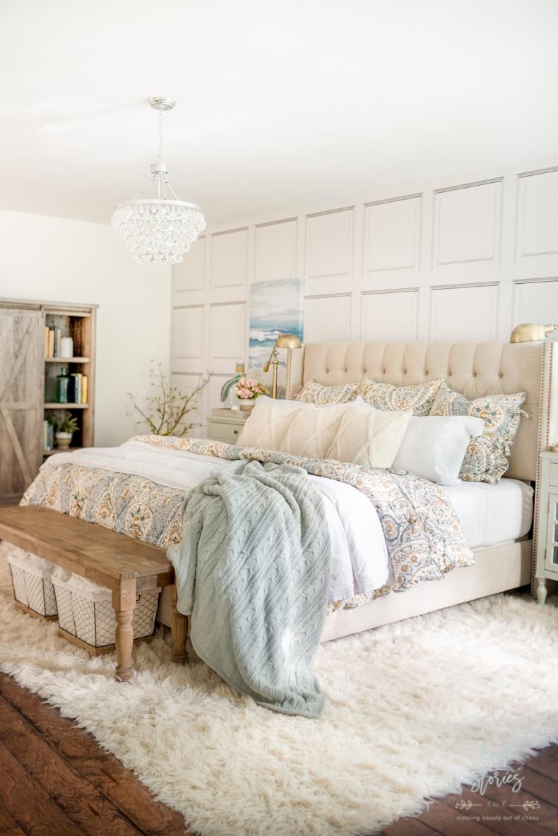 Fall Decor - Cozy Coastal Farmhouse Bedroom by Home Stories A to Z