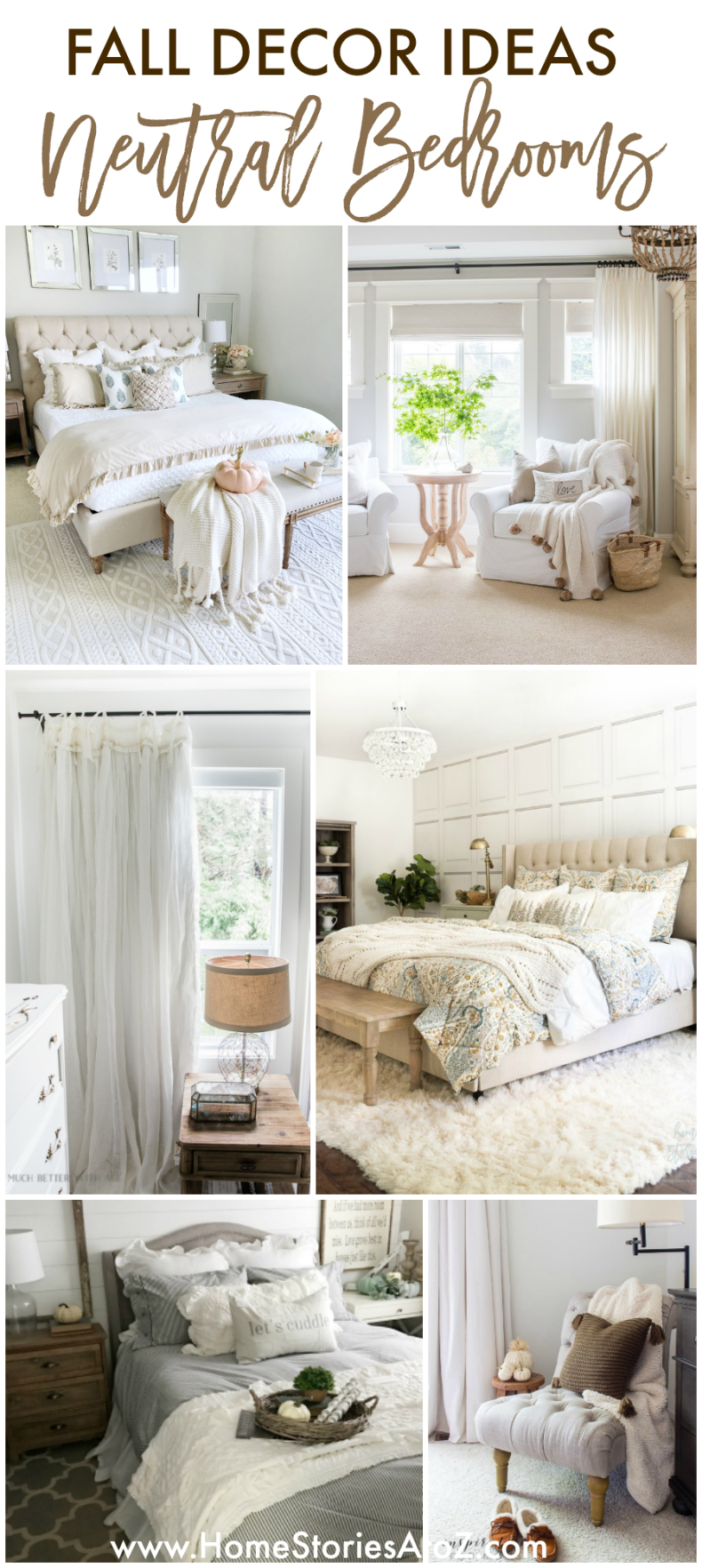 Fall Decor Ideas - Neutral Bedrooms for Fall