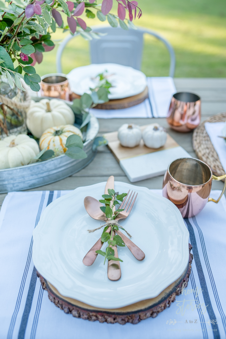 Fall and Thanksgiving Tablescape Tips - Copper Cutlery by Home Stories A to Z