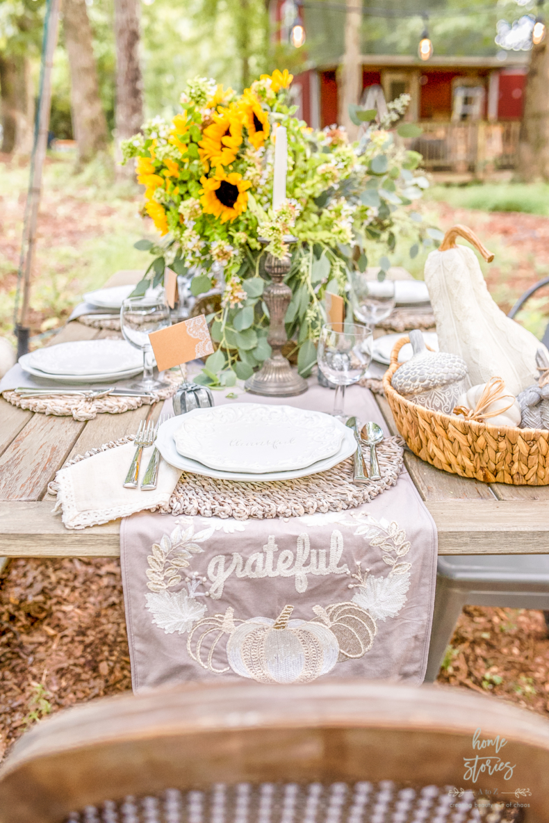 Fall and Thanksgiving Tablescape Tips - Gorgeous Fall Tablescape by Home Stories A to Z