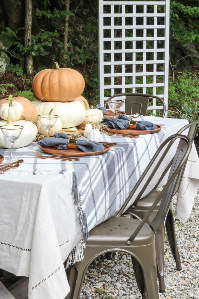 Fall and Thanksgiving Tablescape Tips - Orange and Gray Fall Tablescape by Rooms for Rent Blog