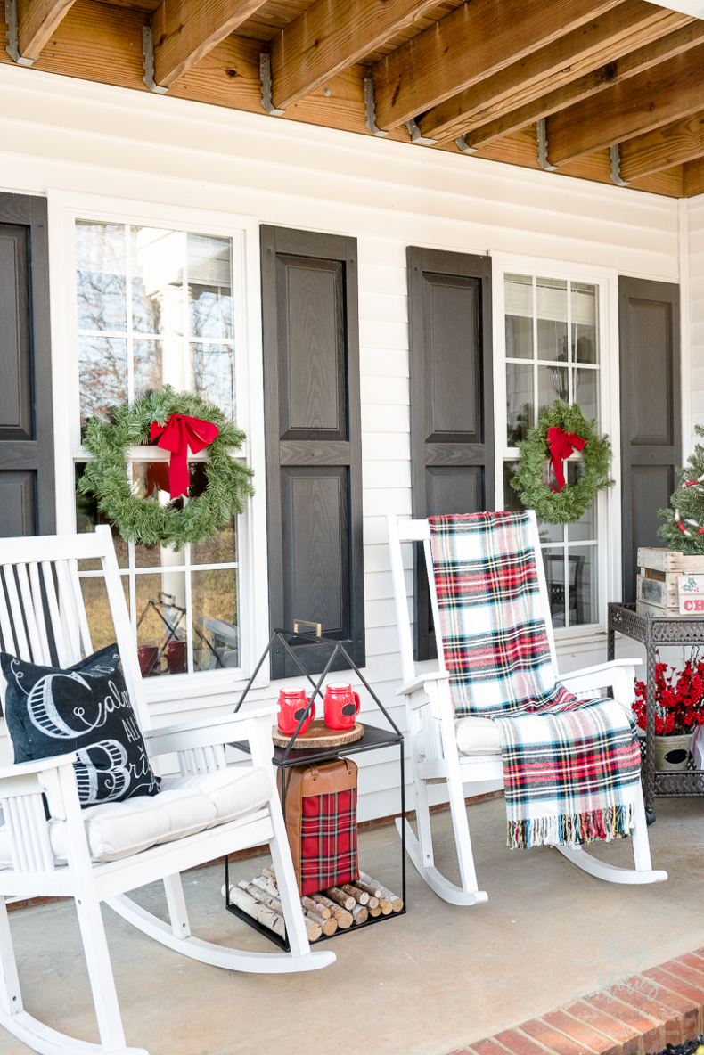 Traditional Christmas Decor on the Porch by Home Stories A to Z