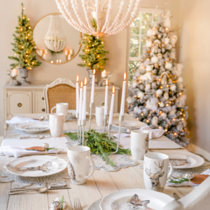 Woodland Glam Christmas Table Setting