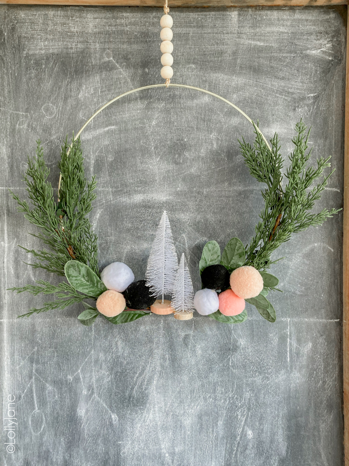 Christmas Wreath Ideas - Christmas Pom Pom Hoop Wreath by Lolly Jane