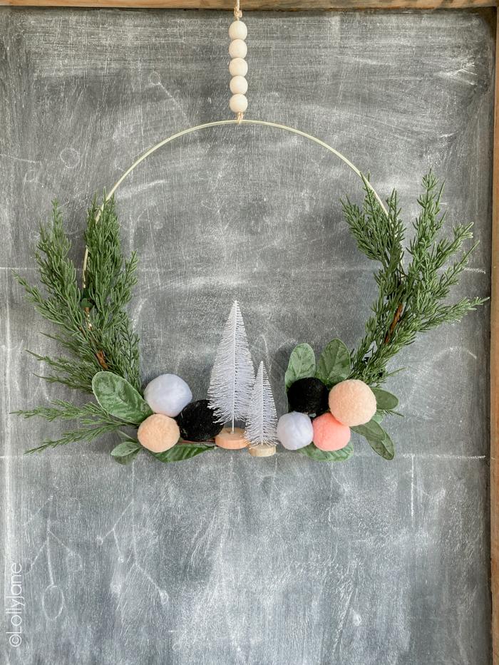 Christmas Wreath Ideas - Christmas Pom Pom Hoop Wreath by Lolly Jane