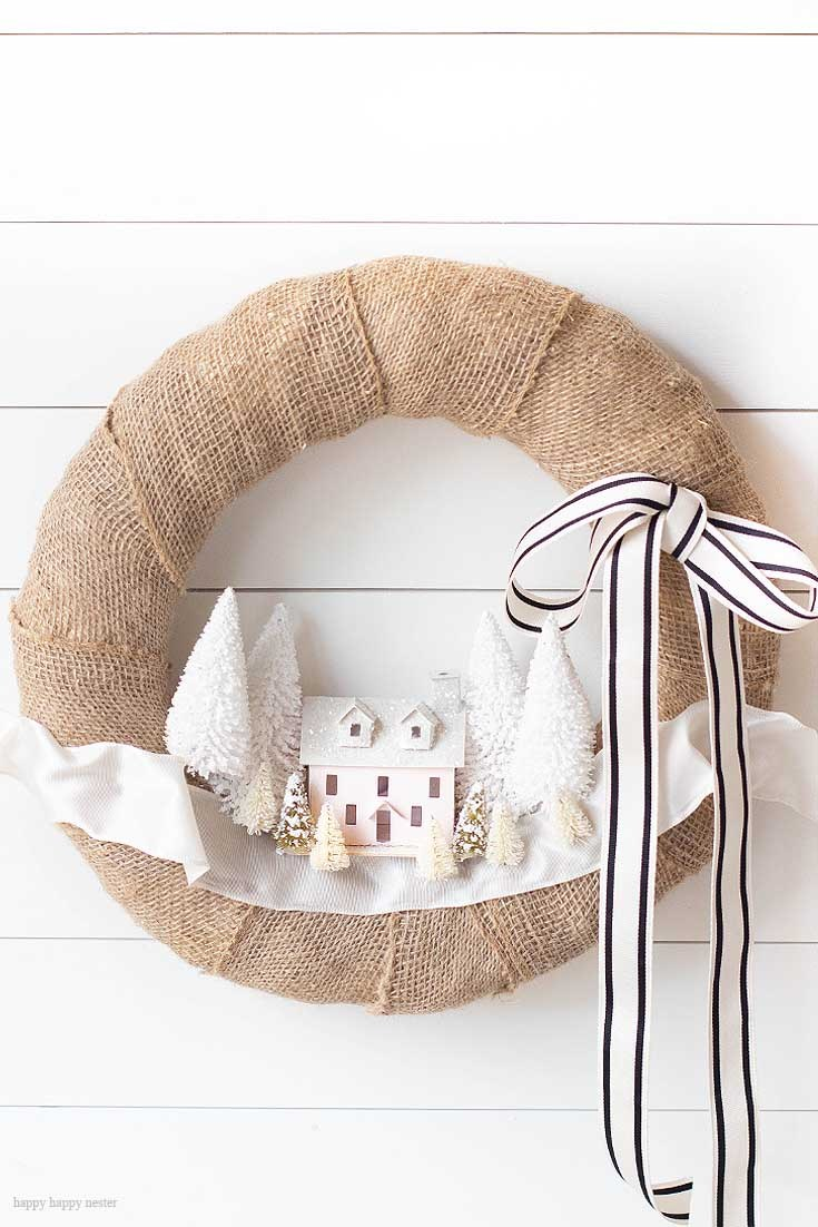 Christmas Wreath Ideas - Christmas Village Wreath by Happy Happy Nester