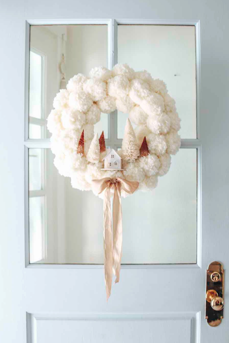 Christmas Wreath Ideas - Christmas Woodland Pom Pom Wreath by Modern Glam