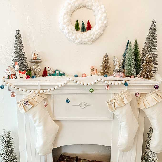 Christmas Wreath Ideas - DIY Cotton Ball Wreath by Hallstrom Home