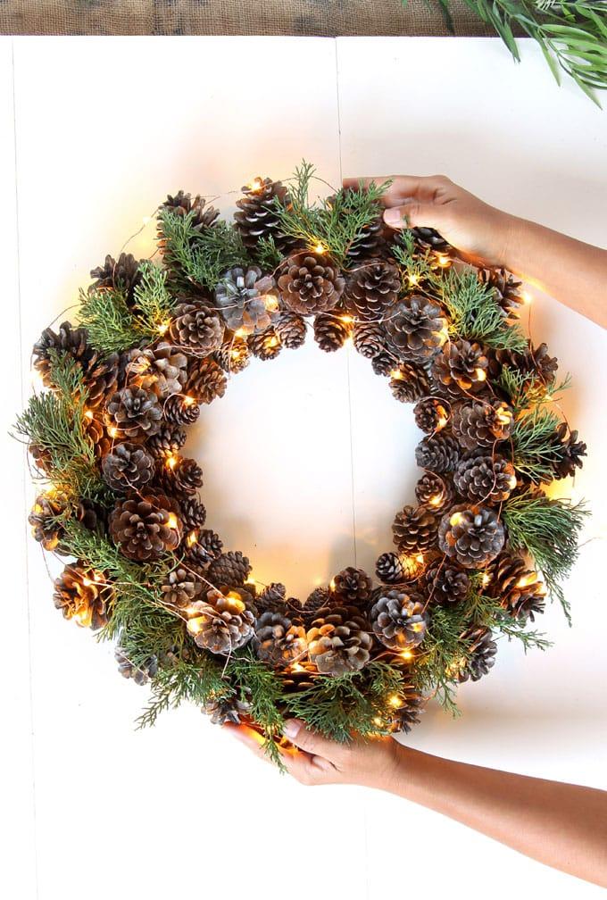 Christmas Wreath Ideas - DIY Pinecone Wreath by A Piece of Rainbow