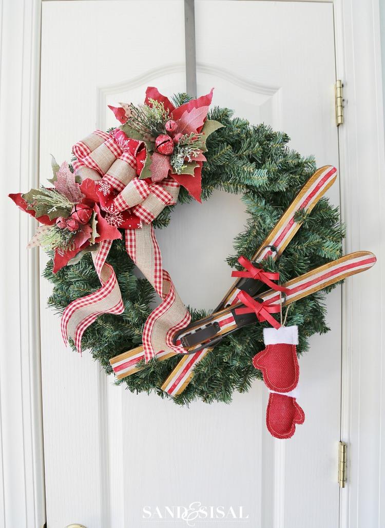 Christmas Wreath Ideas - DIY Ski Lodge Christmas Wreath by Sand & Sisal