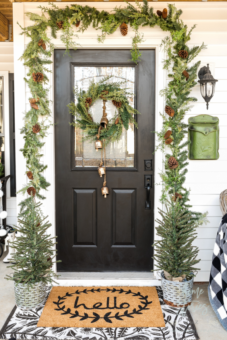 Christmas Wreath Ideas - Farmhouse Christmas Porch by Home Stories A to Z