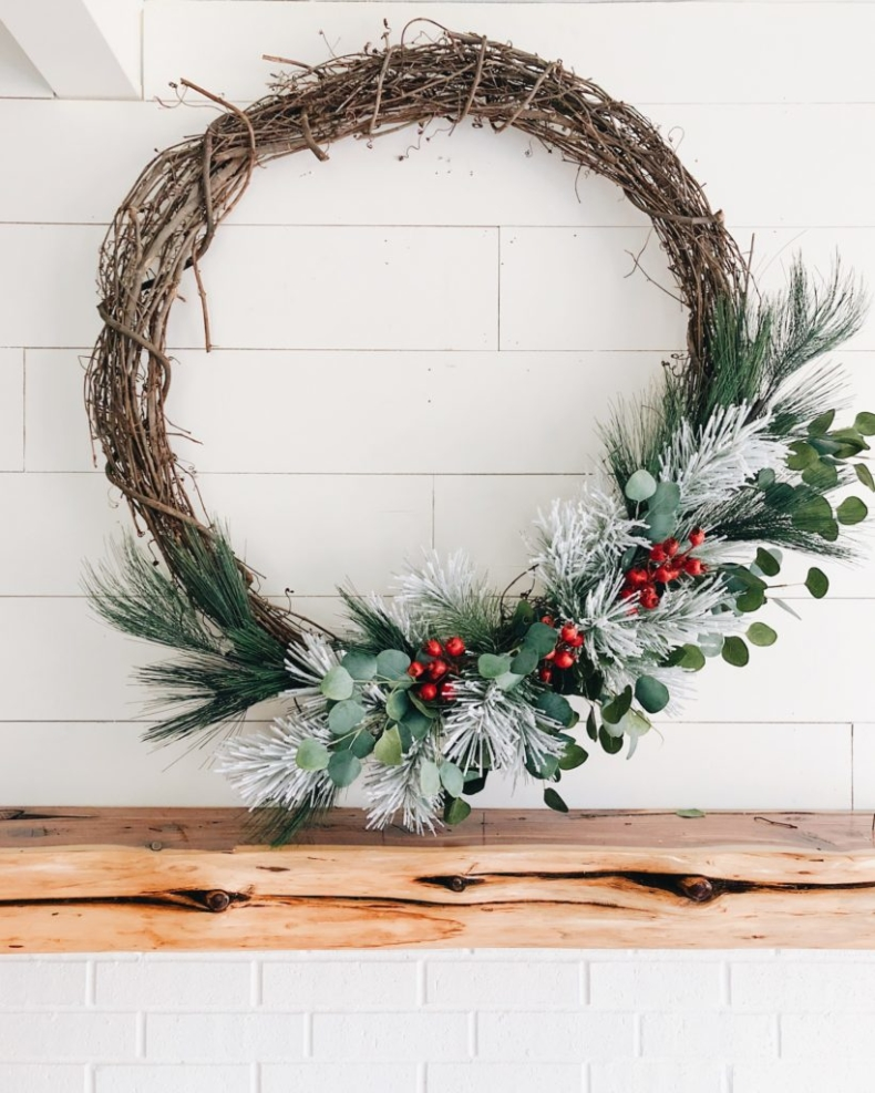 Christmas Farmhouse Wreaths - Farmhouse Christmas Wreath by Cotton Stem