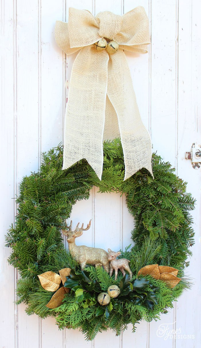 Christmas Wreath Ideas - Natural Traditional Christmas Wreath by Fynes Designs