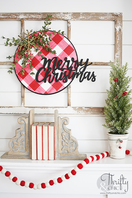Christmas Wreath Ideas - Red and White Buffalo Plaid Christmas Decor by Thrifty & Chic