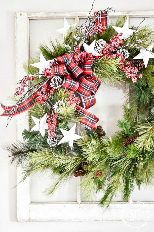 Christmas Wreath Ideas - Updating an old Christmas Wreath by Stone Gable