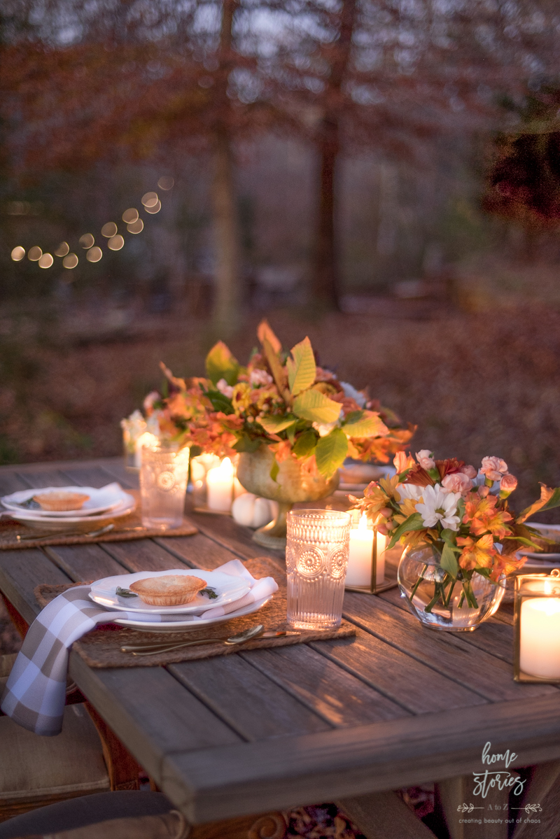 outdoor fall table setting with candles