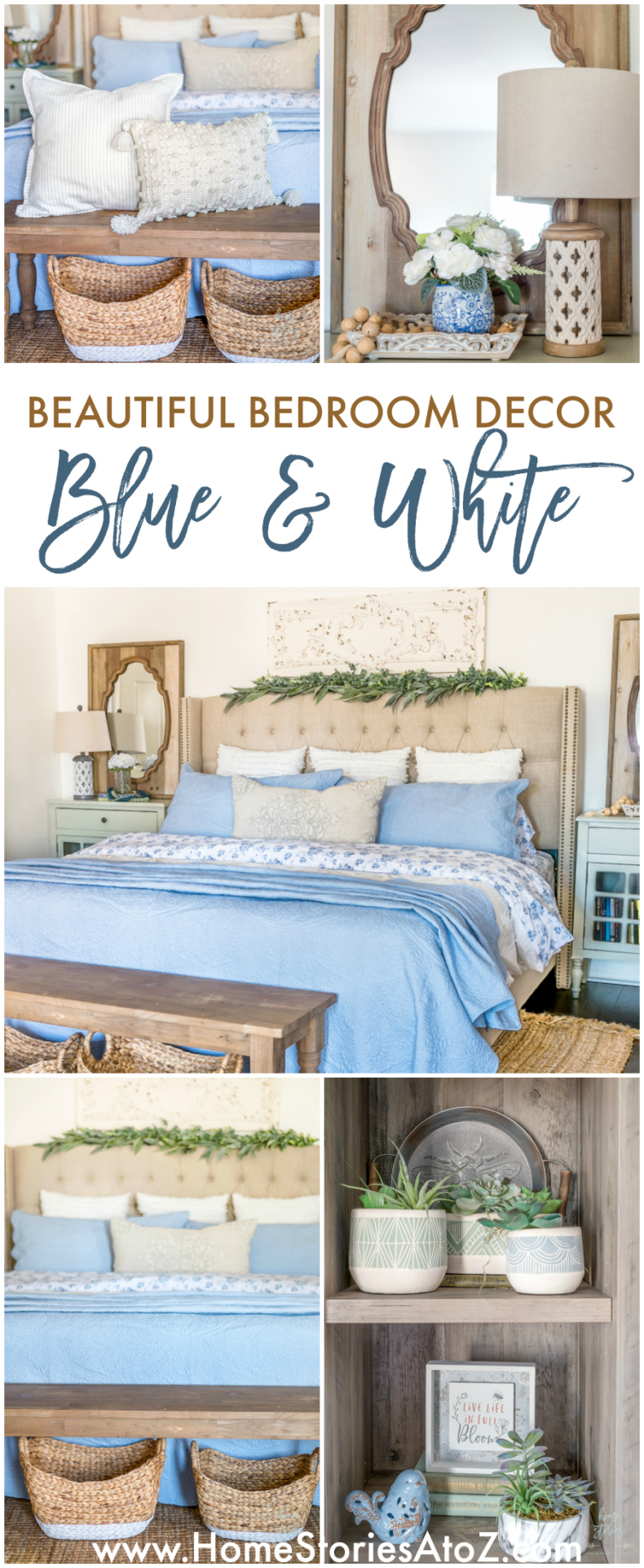 Beautiful Bedroom Decor in Blue and White
